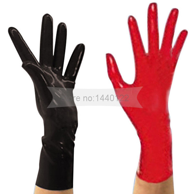 New Arrive Top Fashion Latex Gloves Sexy Lingerie Dress Rubber Wrist Gloves Women Zentai Fetish Moulded