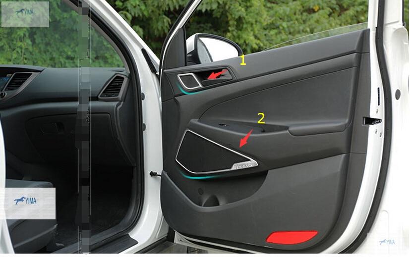Lapetus Stainless Steel Car Door Up + Bottom Speaker Frame Cover Trim Fit For Hyundai Tucson 2016 2017 2018 2019 Interior Kit