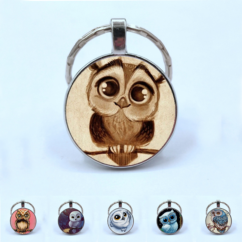 2019 Adorkable Owl Pendant Keychain Big Eyes Cute Bird Retro Picture Double Sided Glass Cabochon Pendant Keychain