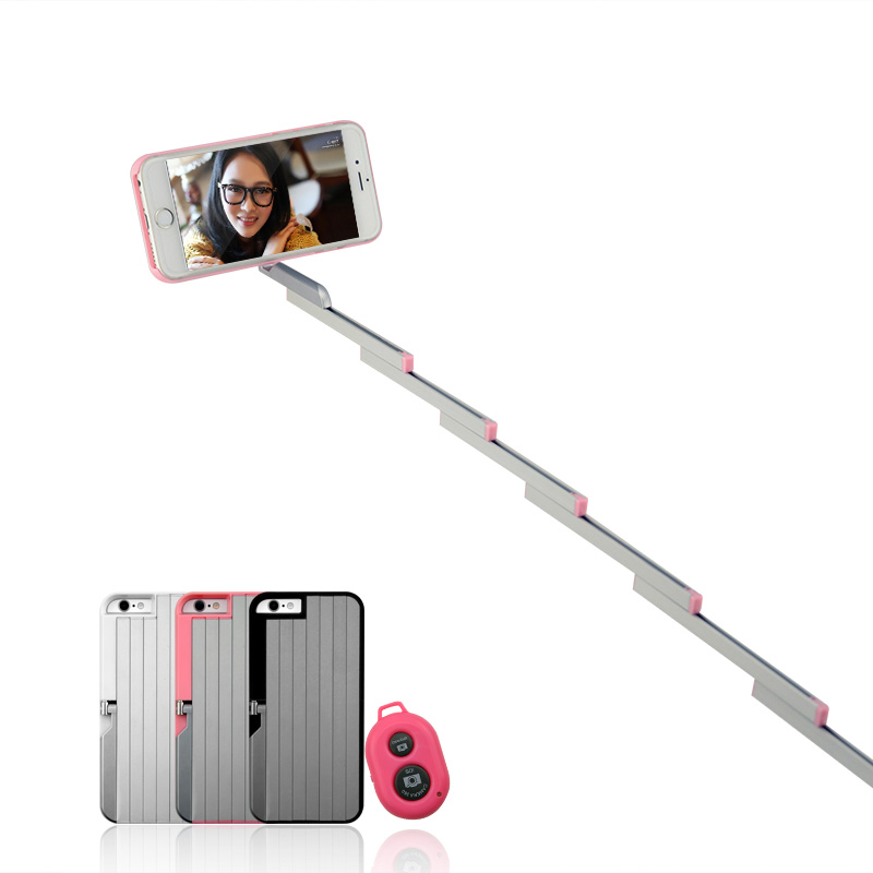 multifunction selfie stick stand case for iphone 6 6s plus foldable aluminum. Black Bedroom Furniture Sets. Home Design Ideas