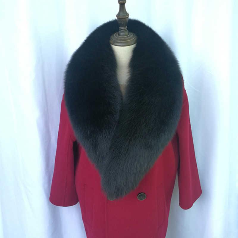 Ukuran Besar Fox Nyata Bulu Kerah Syal Musim Dingin Alami Fox Bulu Syal Wanita Mantel Leher Hangat Bulu Lembut kerah Muffler Selendang