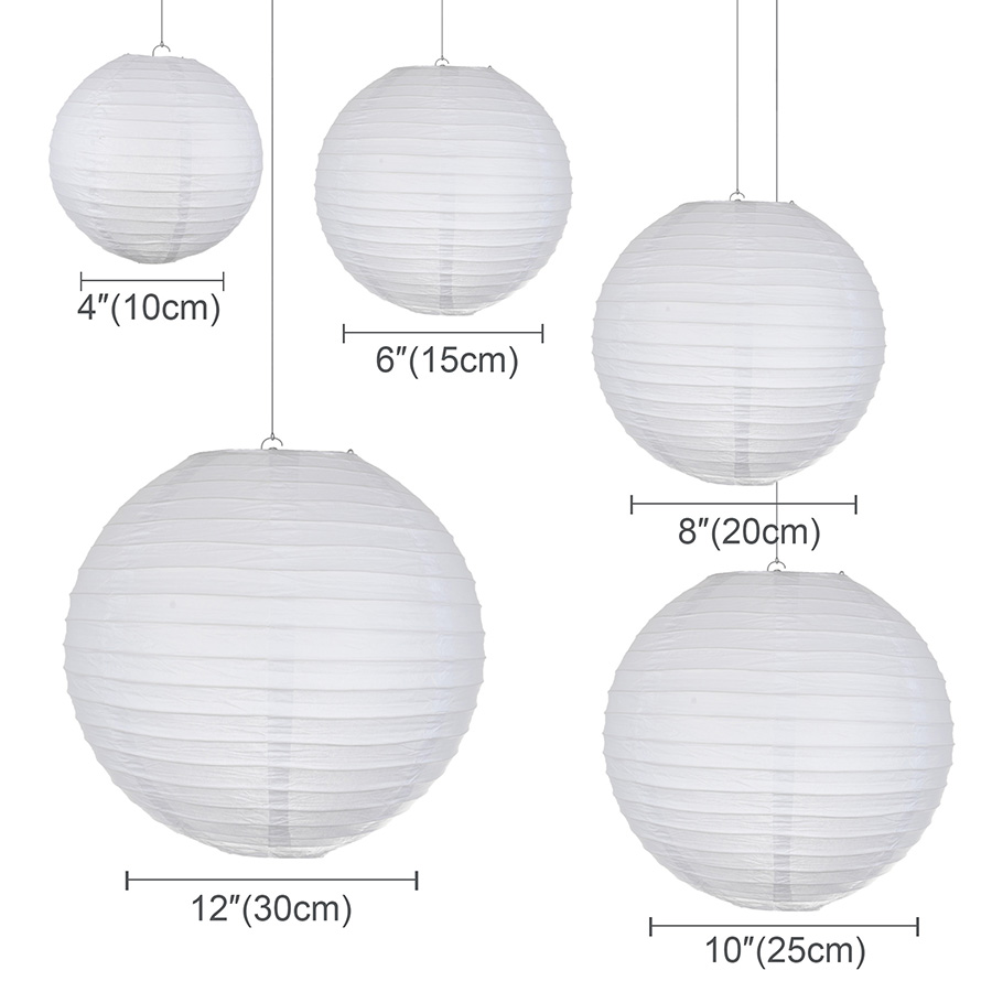 wedding : 30pcs Lot 4-12 Mix Size Chinese Paper Ball Lampion Hanging White Wedding Decoration Paper Lanterns Lampshade Party Decor
