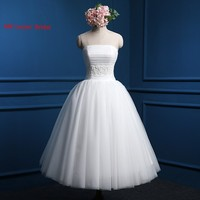 New Ball Gown Wedding Dresses 2017 Knee Length Pleat Bridal Party Gowns Fairytale Princess Wedding Party