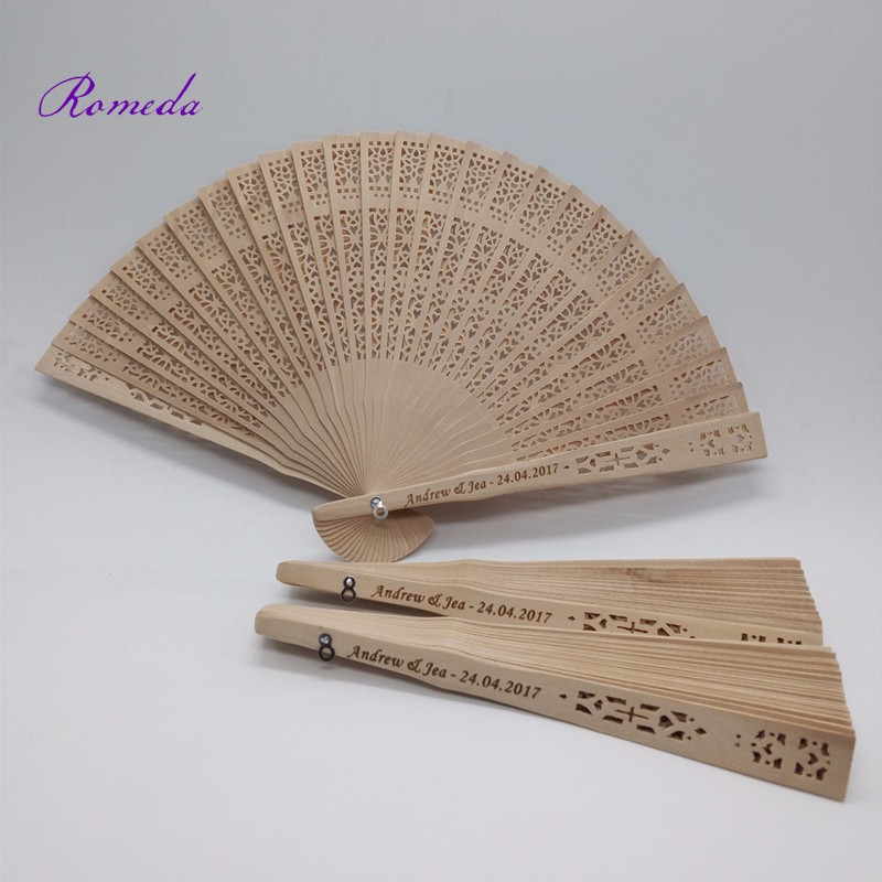 70pcs lot wedding custom engraving Sandalwood Hand Fan personalized carving Wooden fan Wedding Gift