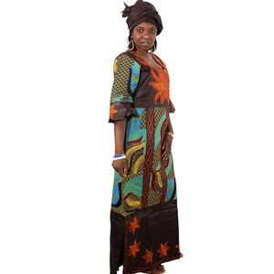 Image 3 - MD فساتين للنساء السيدات dashiki الشمع اللباس مع headtie الأفريقية بازان الثراء التقليدية الملابس الإناث 2019 رداء africaine