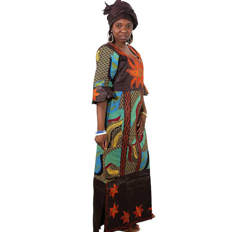 MD אפריקאי שמלות לנשים גבירותיי דאשיקי שעווה שמלה עם headtie bazin riche מסורתית בגדים נשי 2019 גלימת africaine