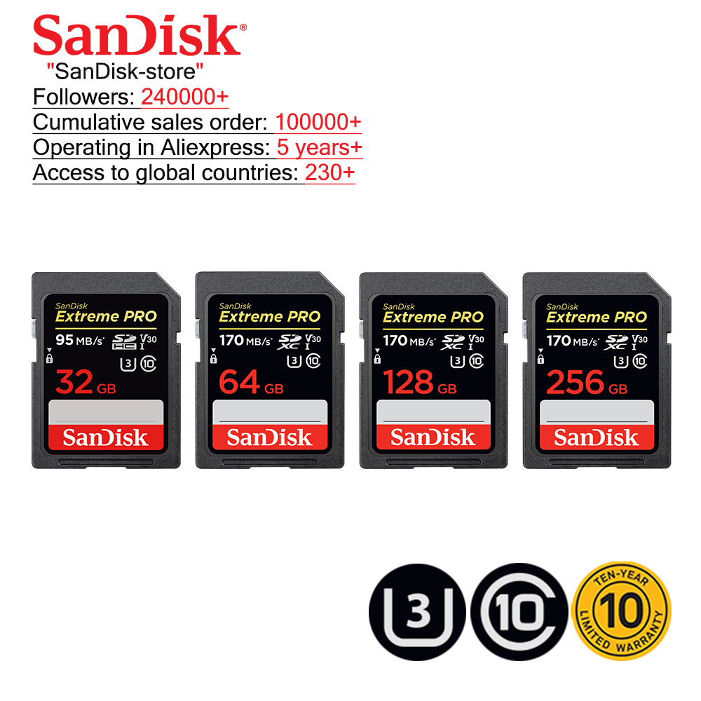 SanDisk Extreme Pro SD Card 32GB SDHC 95M/S 64GB 128GB 256GB SDXC UHS-I Class 10 170M/S Memory Card Support U3 4K Video Card