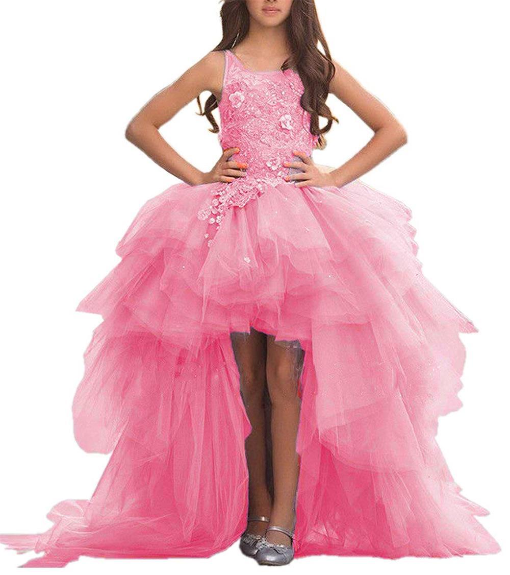 2019 Scoop Neck Flower Girls Dresses Hi Low Gowns Tiered Tulle Children Floor Length Appliques
