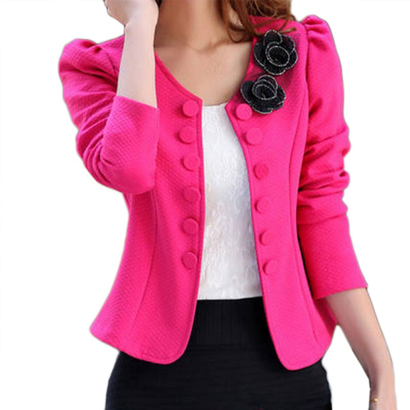 2017 Women Spring Autumn Fashion Blazer Feminino Plus Size Long Sleeved Bleiser Mujer Casual Lovely Women Suits Flower Outwear