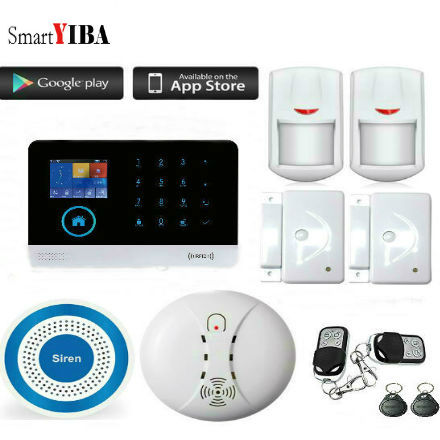 SmartYIBA GSM WIFI IOS Android APP Control Burglar Alarm System Wireless Blue Siren Smoke/Door/Motion Sensor Security Alarm Kit yobangsecurity gsm wifi burglar alarm system security home android ios app control wired siren pir door alarm sensor