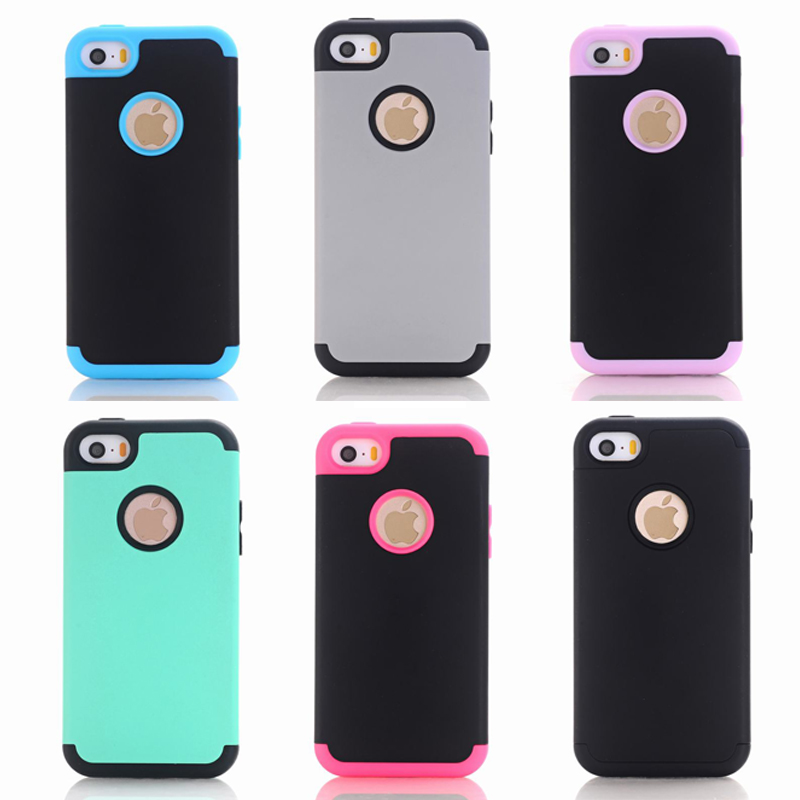 For iPhone 5C Case Silicone 3 in 1 Hybrid Hard Plastic Shockproof Phone Case For Coque iPhone 5S Silicone Luxury Soft Cover Case