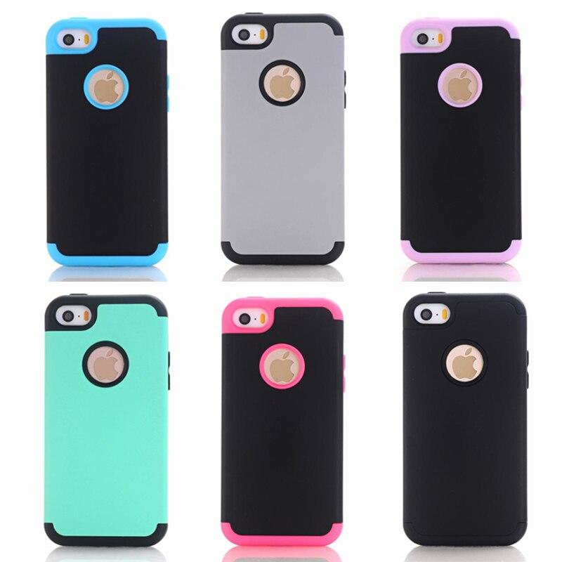 Pour iPhone 5C Cas Silicone 3 en 1 Hybride En Plastique Dur antichoc Téléphone Cas Pour Coque iPhone 5S Silicone De Luxe Couverture Souple cas