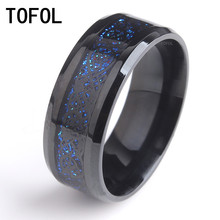 TOFOL Dragon Rings For Men Women Black Blue Retro Style Stainless Steel Ring Party Wedding Fashion Jewelry