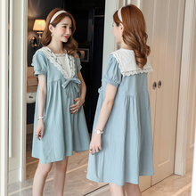 Maternity Dress Embroider Sailor Collar Dresses Summer Wear Premama Dresses for Pregnant Wome Pregnancy Clothing Maternidad korean maternity breast feeding dress clothing pregnancy wear long blouse shirt dresses premama vestido pregnant nursing clothes