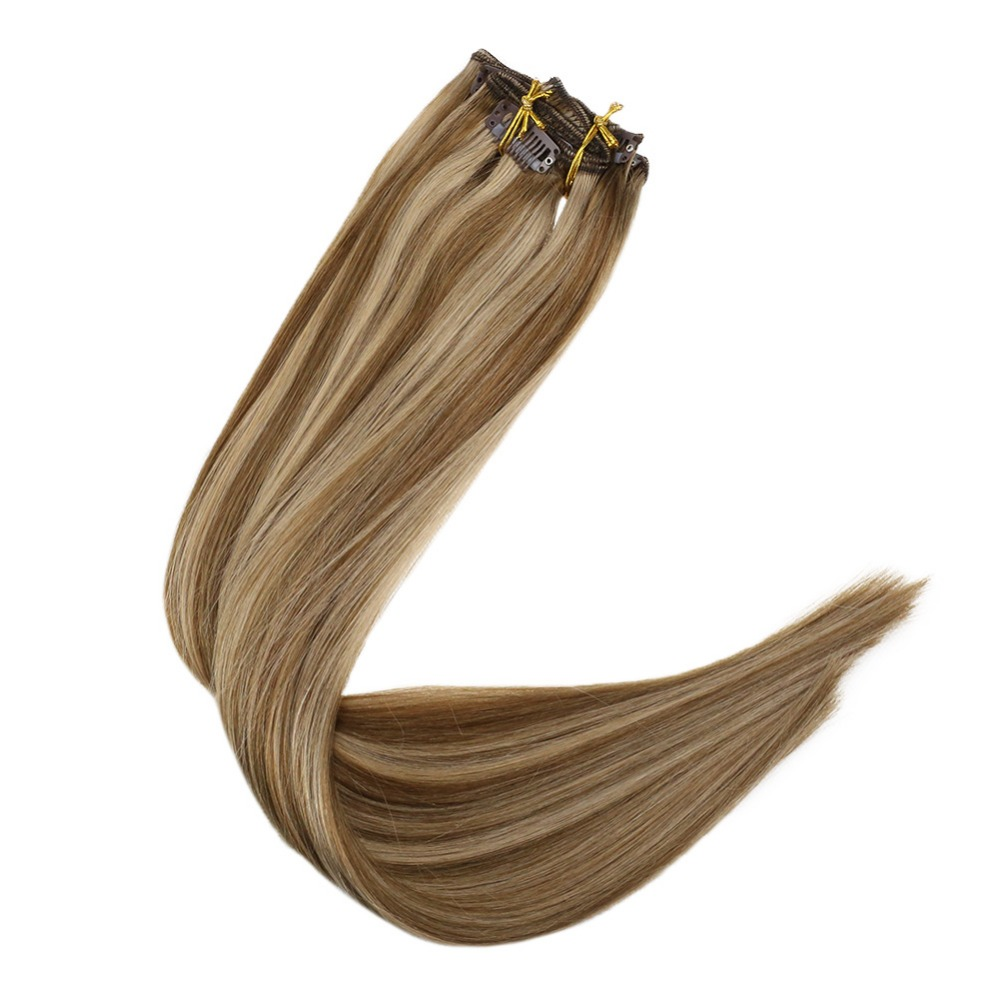 Lowest Price Ever! FullShine 9Pcs Clip In Hair Extensions #10 Highlighted #16 Blonde 100% Remy  Double Weft Clip Extensions Hair