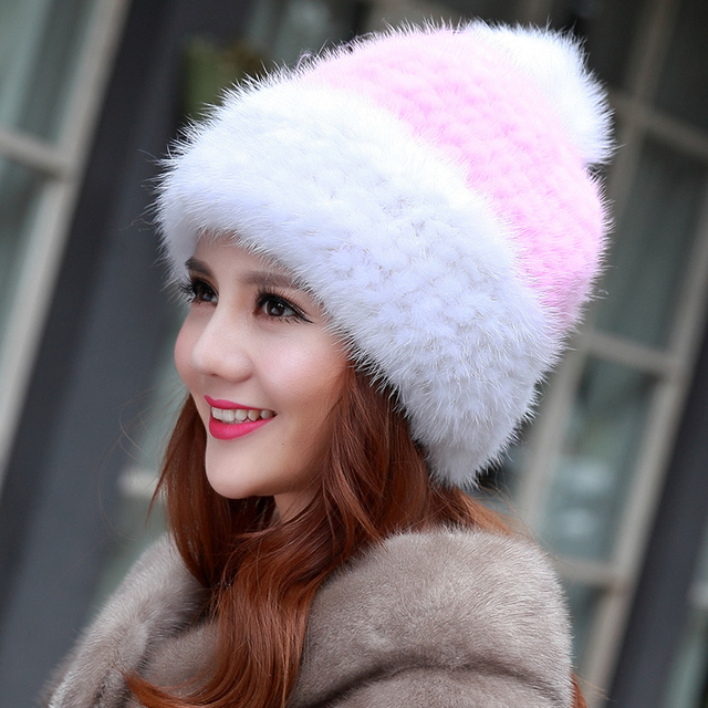 Genuine Real Mink Fur Knitted Hat For Women Autumn Winter Winter Knitted Warm Mink Fur Cap Russian Style Thick Beanies Hat H#64