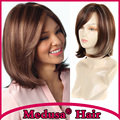 Medusa hair products: Heat resistant synthetic pastel wig for women Medium length straight Mix color bob style Mono wigs SW0010A