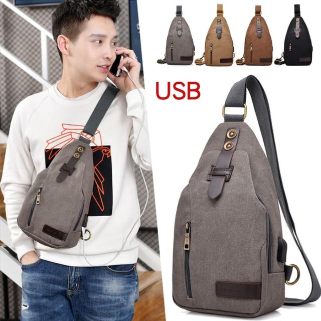 Anti-roubo do vintage Crossbody Bag Com Bolso Frontal Grande Capcity de Carregamento USB Saco Peito Casuais Cor Múltipla dos homens saco do estilingue