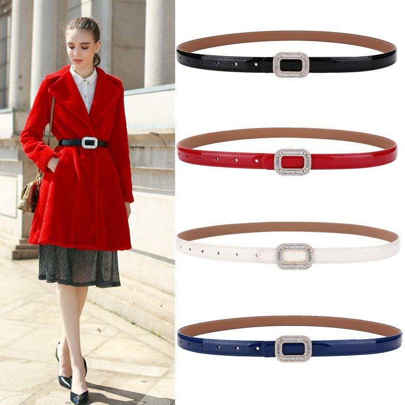 Ceinture en cuir strass femme version coréenne de la mode sauvage en cuir de vachette boucle fine ceinture dames robe ceinture LU010