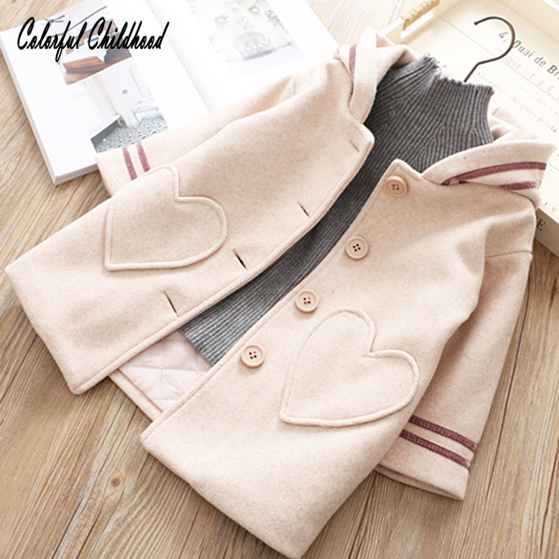 Baby Girl Sweater Coat Lovely Love Heart Bunny Ear Shape Hooded Coat Tops Toddler Kid Winter Warm Woolen Coat Children Wear Coat coat gaudi coat
