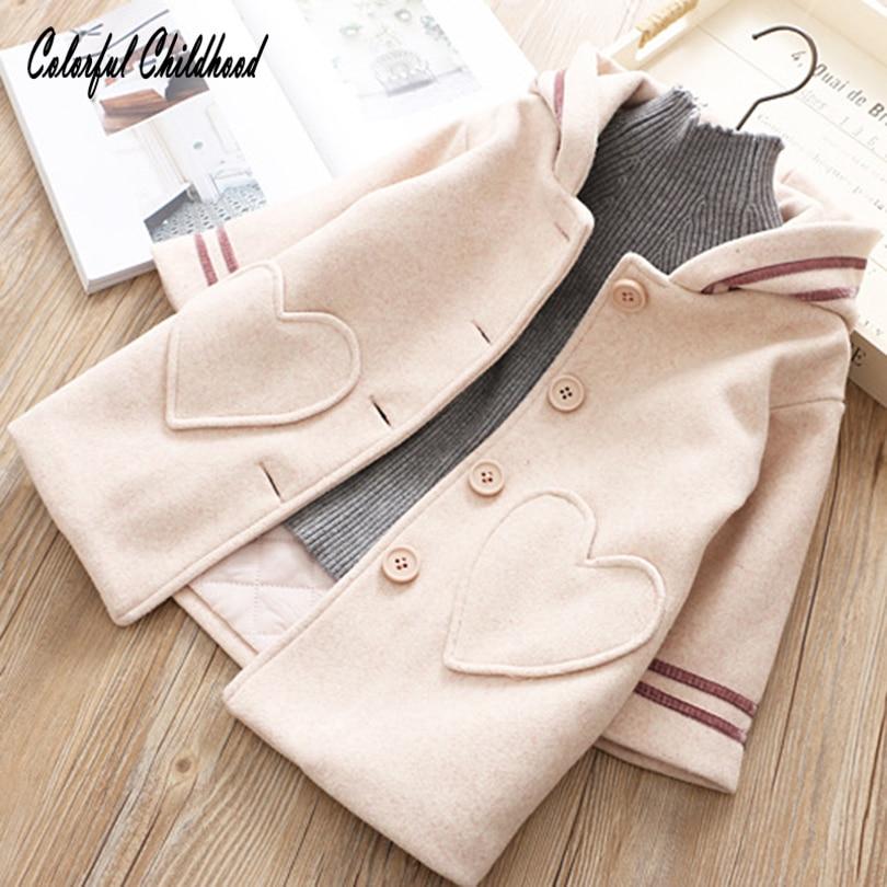 Baby Girl Sweater Coat Lovely Love Heart Bunny Ear Shape Hooded Coat Tops Toddler Kid Winter Warm Woolen Coat Children Wear Coat coat figl coat