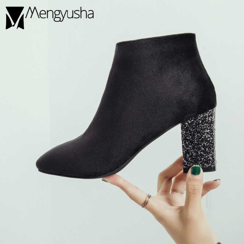 Kadın bling topuk kadife ayak bileği patik kış peluş sıcak platform ayakkabılar bayanlar tıknaz topuk kare ayak chelsea çizmeler mujer 2019