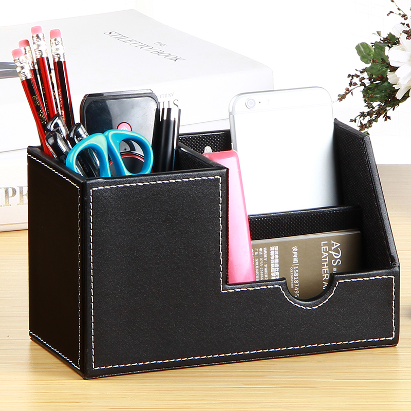 Business imitation leather pencils creative fashion desktop office stationery business card holder multi-functional storage box