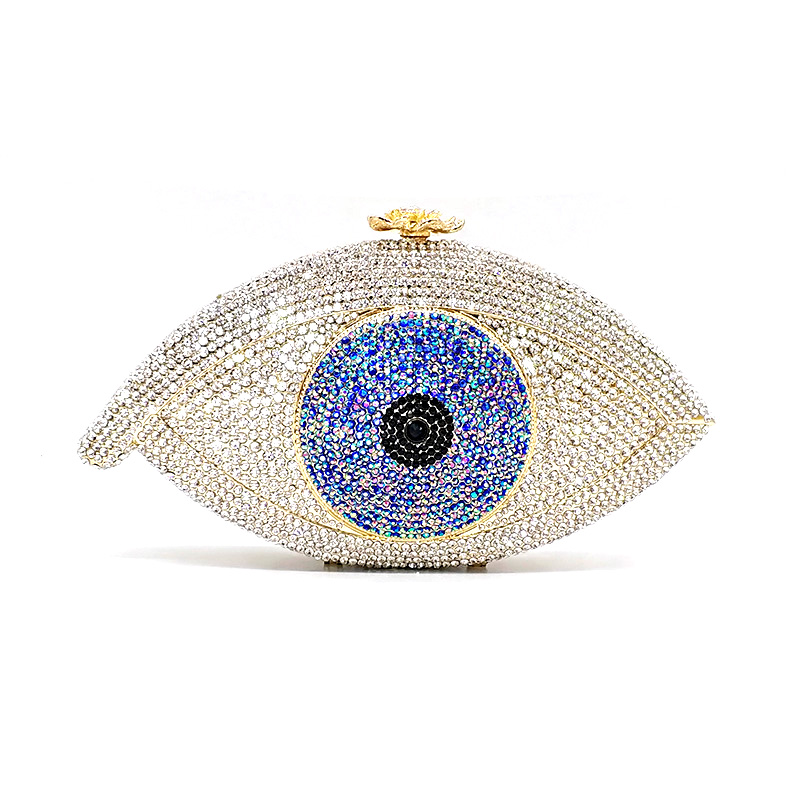 New Elegant women evening party big evil eye diamonds luxury clutches vintage pattern crystal purses Bridal