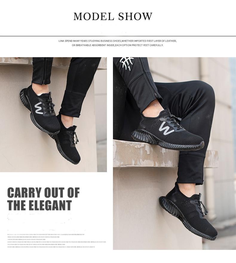 Для Мужчин's Сталь носком рабочие защитные ботинки, обувь; Воздухопроницаемый материал; Рабочая обувь анти-прокол противоскользящий дизайн Повседневное защитная обувь