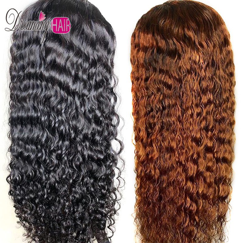 13x6 Deep Part Ombre Water Wave Lace Front Human Hair Wigs Preplucked Baby Hair Brazilian Frontal Closure Wig For Black Women