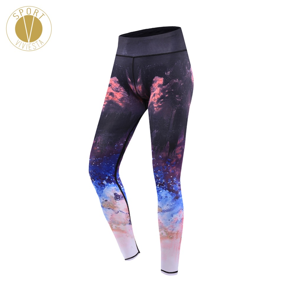 Galaxy Print High Rise Sports Leggings - Womens Yoga Run Active Milky Way Starry Ombre Stylish Stretchy Compression Tight Pants