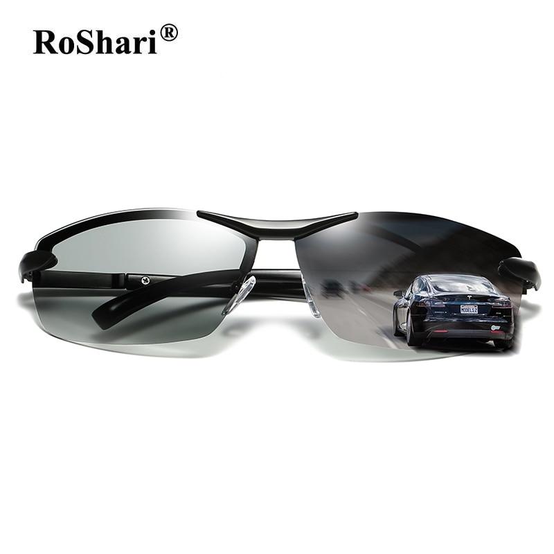 RoShari 2018 New Discolored sunglasses men polarized Photochromic Professional driving Sun Glasses men lentes de sol hombre A289