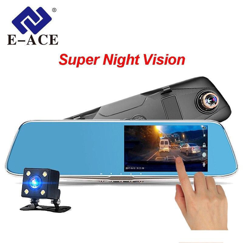 E-ACE Автомобильный dvr камера 4,7 сенсорный экран FHD 1080P регистраторы Авто регистратор зеркало заднего вида с двумя объективами камкордер