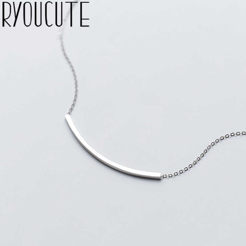 RYOUCUTE Real Pure 925 Sterling Silver Jewelry Long Simple Line Necklaces Statement For Women Accessories Kolye Collar Mujer