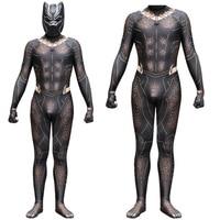 Black Panther Erik Killmonger Gold Jaguar Cosplay Costume Jumpsuit Black Panther Cosplay Halloween Zentai Mask