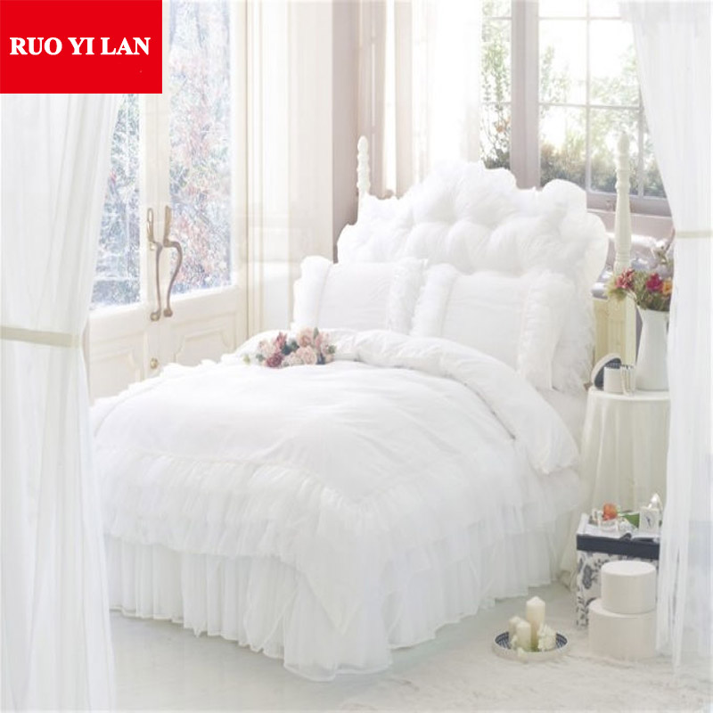 Romantic Princess White Bedding Set 4pcs Silk Lace Ruffles