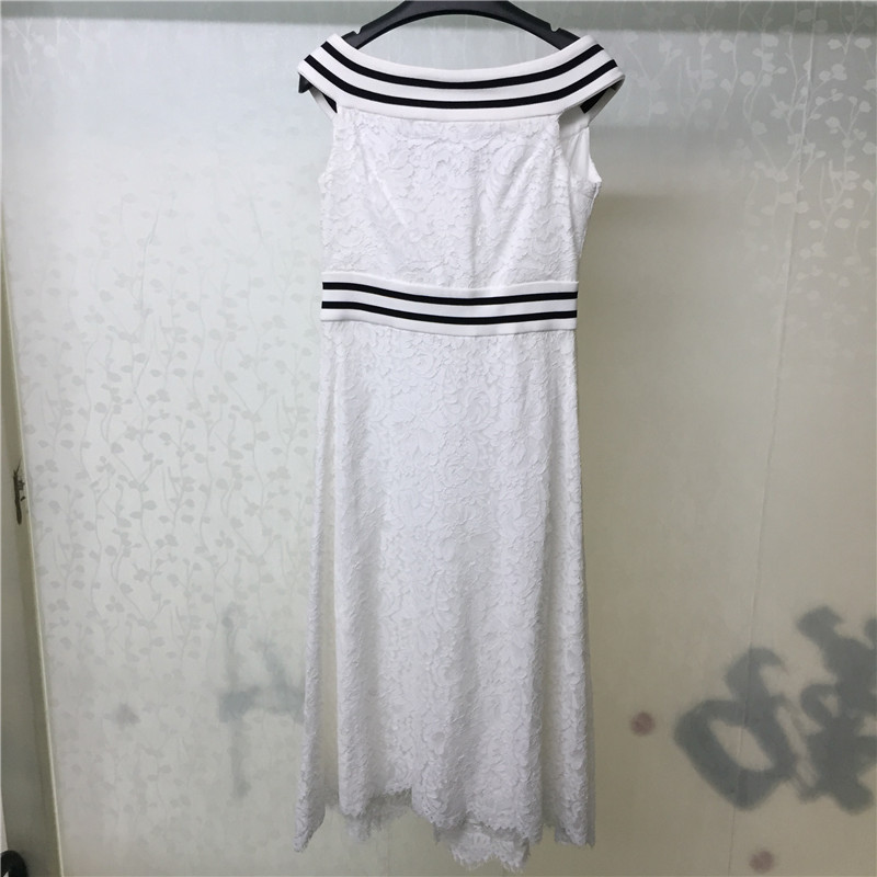 longueur Robe Genou Manches Qualité Top Nouvelle Pour Bureau 2018 Femmes Blanc Mode Sans Les Dame TEq77n
