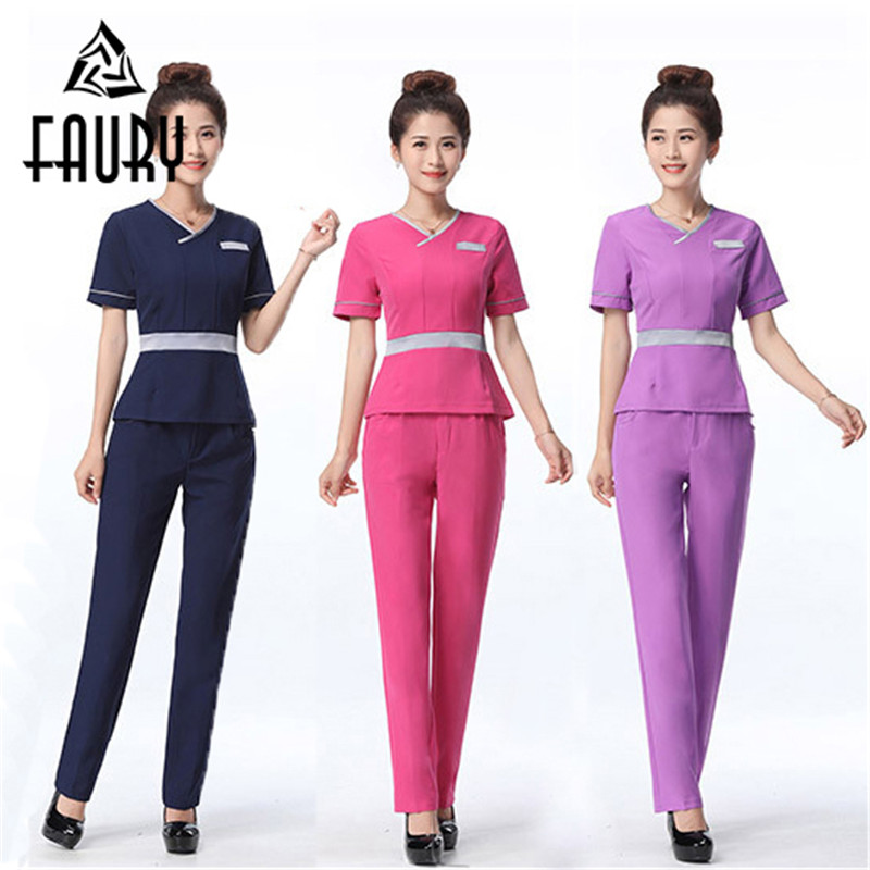 Women Beauty Salon Jewellery Workwear OL Professional Slim Hotel Front Desk Beautician Short Sleeve Long Pant Uniforms Suit Set