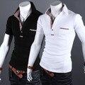 Com grade masculino camisa polo fino masculino curto-luva