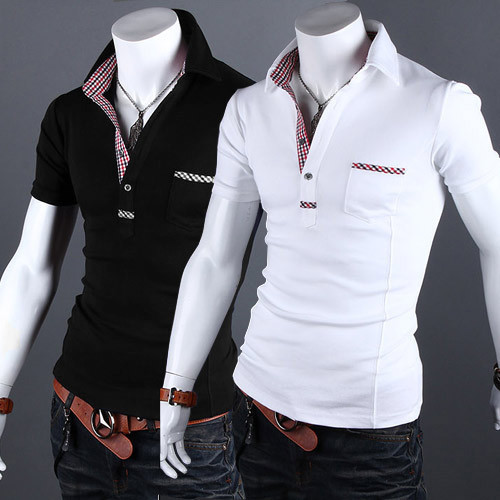 with grid  male polo shirt slim male short-sleeve