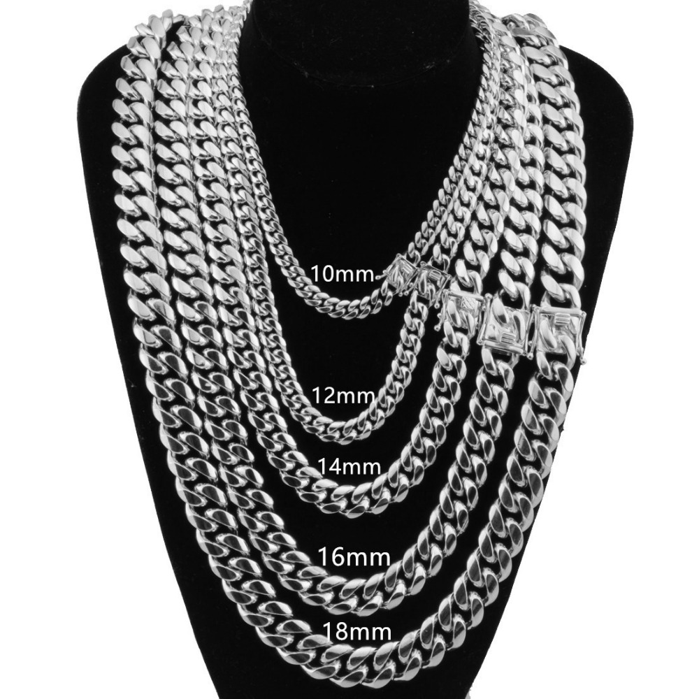 10/12/14/16/18mm 7-40″ Mens Necklace/Bracelet Miami Curb Cuba Chain Silver Color Stainless Steel Hip Hop Link Jewelry Wholesale