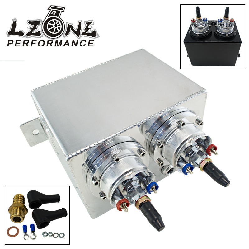 LZONE RACING - 3L Dual BILLET ALUMINUM FUEL SURGE TANK / SURGE TANK With 2pc 044 FUEL PUMP SILVER OR BLACK JR-TK84044 tansky high q external 044 dual fuel pump anodized billet aluminum fuel surge tank tk yx6012 2k044
