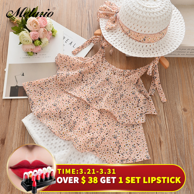 Melario Girls Clothing Sets 2019Brand Summer Style Kids Clothing Sets Sleeveless White T-shirt+Pink Pants2Pc Children Girls Suit