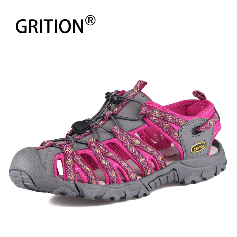 GRITION Women Beach Sandals Summer Ladies Hiking Sandals Close Toe Casual Comfort Breathable Female Sport Shoes 2020 Big Size 42