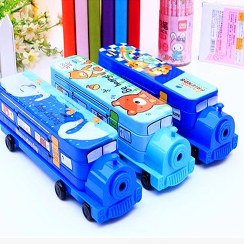 Car style three layers bookshelf iron stationery box iron pencil box train Pencil Case Cartoon Pencil Bag Large Capacity multifunctional pencil box cute cartoon style pencil case primary school children stationery box iron pencil box boys and girls