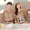 Brand Winter Couples Pyjama Femme Panda Sleepwear Soft Flannel /Coral Fleece Striped Pajama Mujer WomenMen Pajamas Sets CLothing