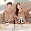 Marca de Invierno Parejas Pijama Femme Panda Suave Ropa de Dormir de Franela/Coral Polar Pijama de Rayas Mujer WomenMen Pijamas Ropa