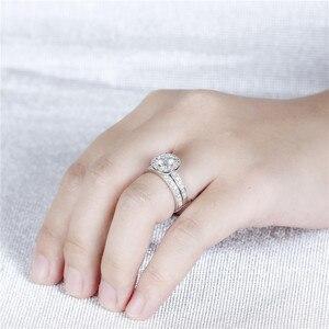 Image 3 - DovEggs סטרלינג מוצק 925 כסף מרכז 1ct 6.5mm H צבע Moissanite Halo חתונת טבעת סט 2 חתיכות כלה קלאסי להקה