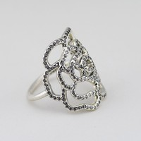 100 Authentic 925 Sterling Silver Jewelry Large Rose Silver Ring With Cubic Zirconia Rings For Women