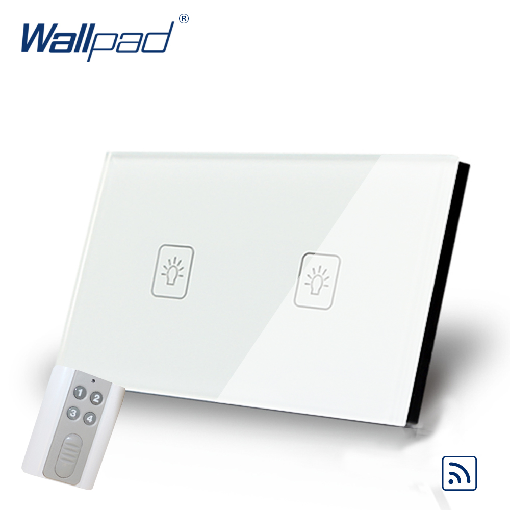 White 2 Gang Remote Control Touch Switch Crystal Glass Switch Wallpad Luxury US/AU Standard Switch With Remote Controller smart home us black 1 gang touch switch screen wireless remote control wall light touch switch control with crystal glass panel